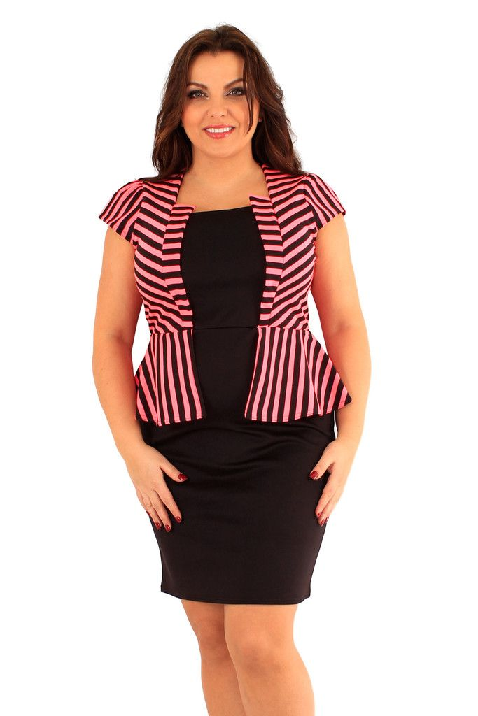 Neon Pink and Black Striped Jacket Peplum Dress - in plus size up to UK 24  - for same price as smaller sizes! 10% off your first order and get points  for ... ec52d31a2