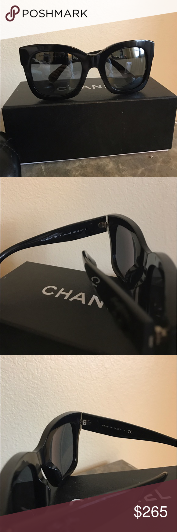 69f25a6c8e5 Chanel Sunglasses Selling Brand new pair of Chanel sunglasses. New  collection. Great frame for larger face shape. Black frame with silver  reflective lenses.