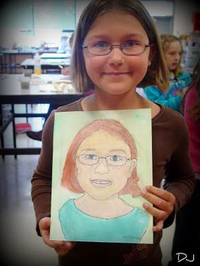 simple idea for kids' portraits. Take a photo of child, turn it into a line drawing (using photo software), then have kids darken the lines they want and paint or color