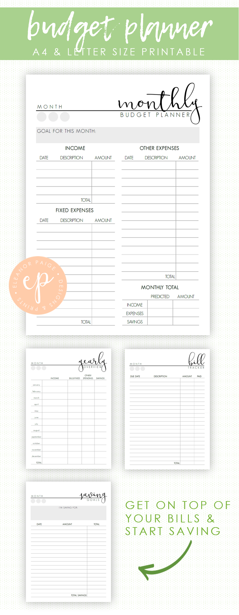 budget planner printable pack financial planner template weekly