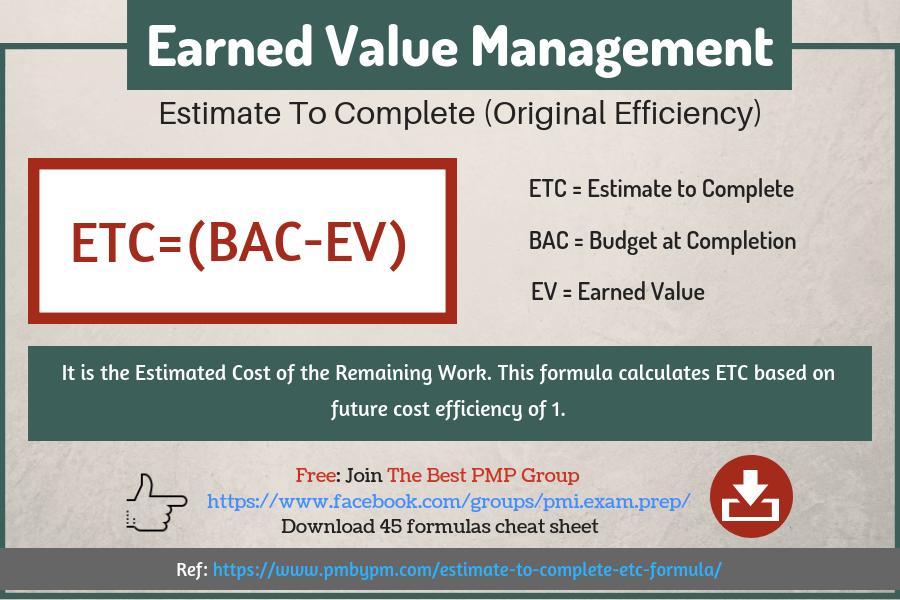 Estimate To Complete Earned Value Management Formula Estimate