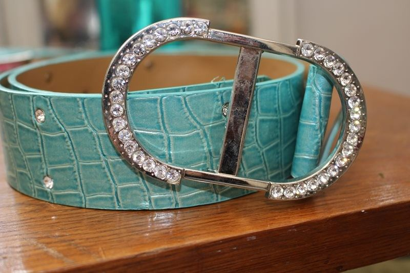 ceinture bleu strass simili cuir effet peau de serpent hippie chic TU année 90
