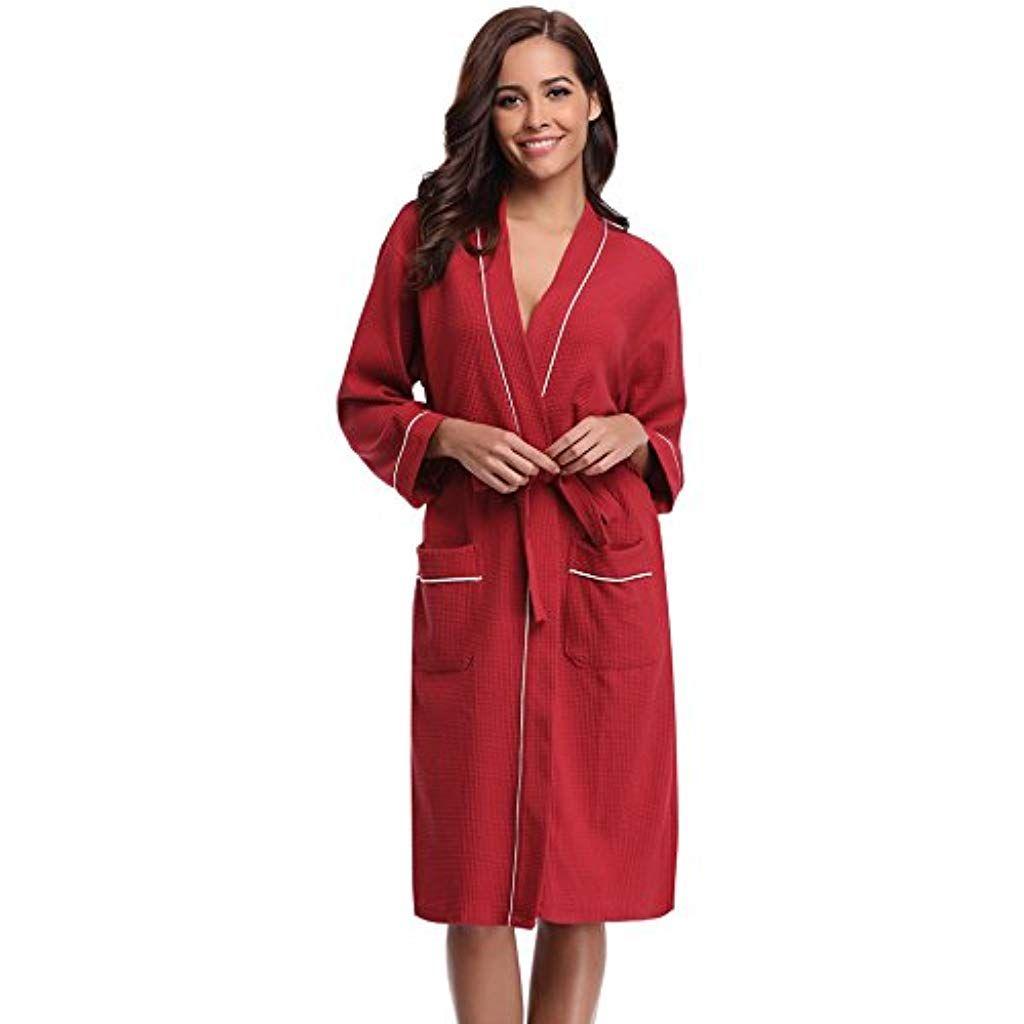 38721d0562737 Aibrou Peignoir Nid dabeille Homme Robe de Chambre Coton Femme Kimono  Tissage Gaufré Unisexe Waffle col
