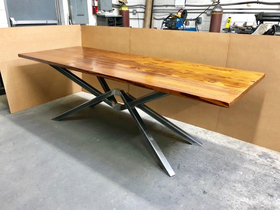 Hand Crafted 6 Seater Farmhouse Style Reclaimed Wood Steel Dining Table Handmade Industrial Kitchen Table Old Wood Barn Wood Table Industrial Style Dining Table Steel Dining Table Pine Dining Table