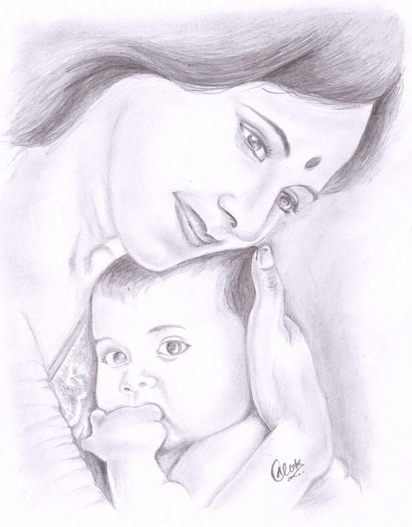 Mothers love sketching by alok kumar in my sketches at touchtalent 43532