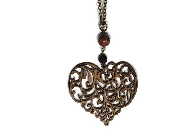 Wooden Heart, Filigree Necklace, Valentine Necklace, Boho Heart Necklace,  Lariat Necklace,