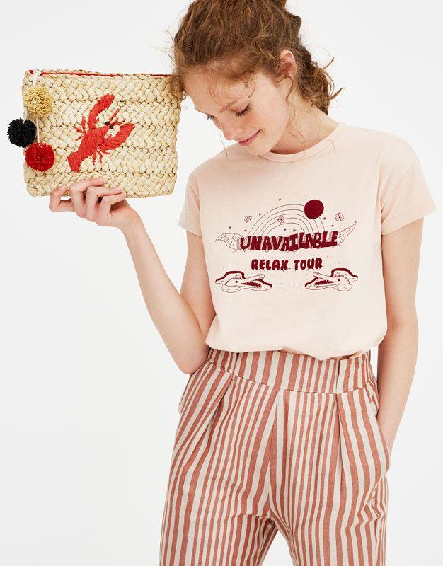 Yazi Baskili Kisa Kollu T Shirt T Shirtler Giyim Kadin Pull Bear Turkiye Spring Shirts T Shirts For Women Lounge Wear