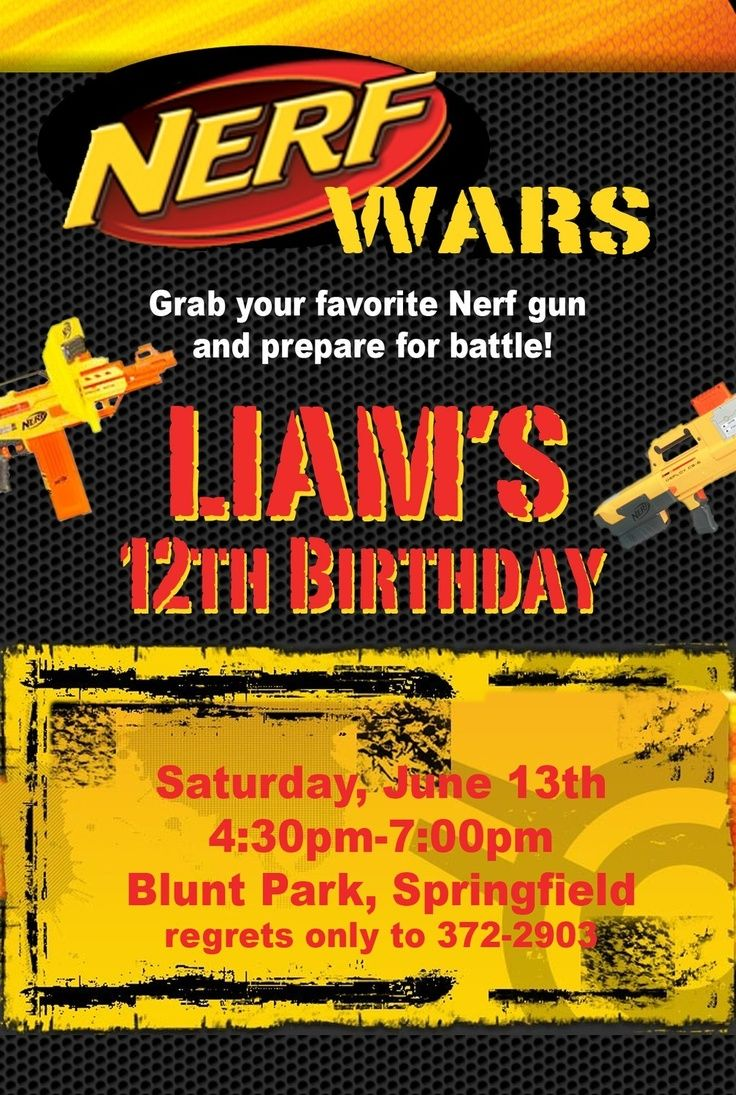 pinterest nerf party ideas | Nerf War Birthday Party Invitation Idea ...