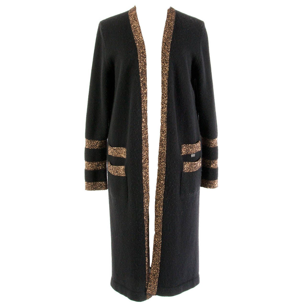 Chanel Black And Gold Cashmere Cardigan | From a collection of ...