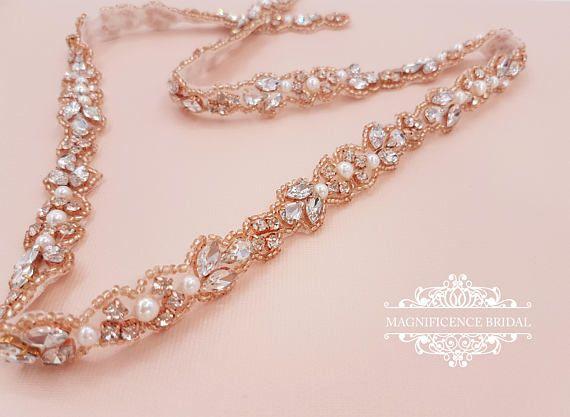 Rose Gold Thin Belt Bridal Belt Thin Bridal Belt Rose