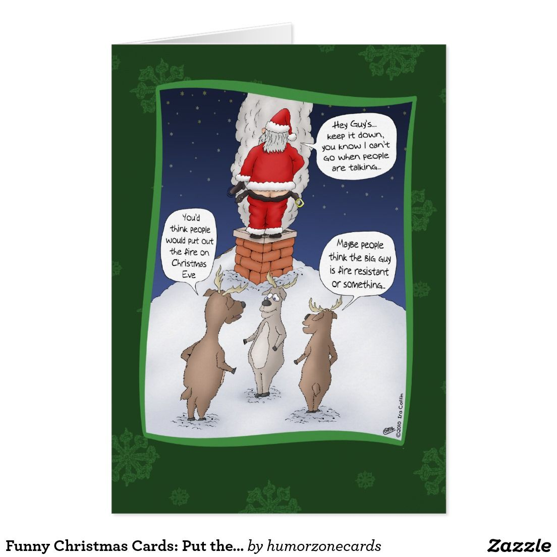 Funny christmas cards put the fire out funny christmas holidays greeting card featuring santa attempting to put out a fire so he can get down the chimney christmas humour kristyandbryce Image collections
