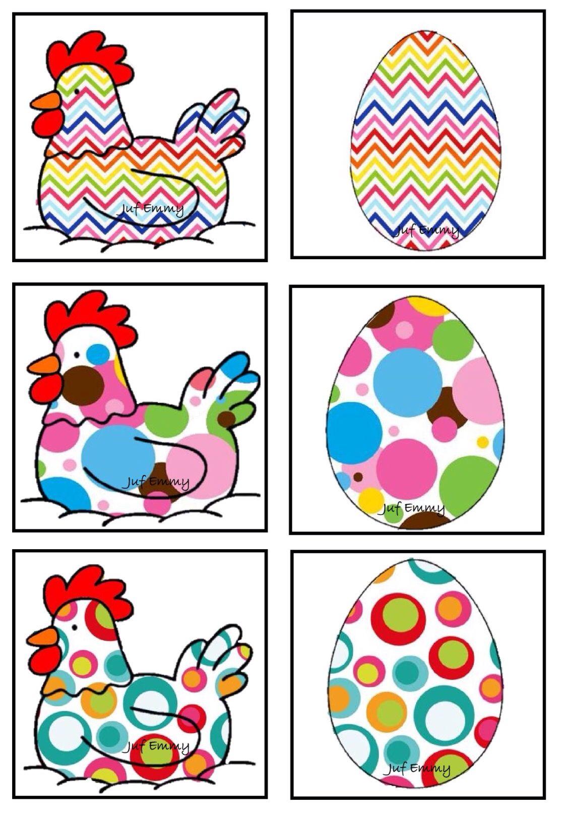 Juf Emmy! Memory de kip en het ei Deel 2 | Knutselen pasen, Pasen ...