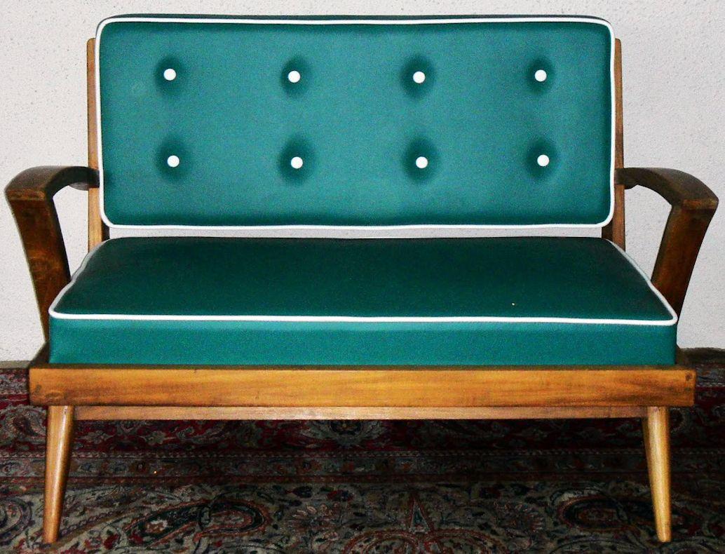 sofa et fauteuils  bois (d'origine) et simili cuir (rénové  - beauteous  s retro sofa furniture design in green upholstery ideasvintage collection of  s retro furniture design ideas