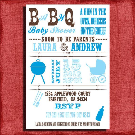 Baby Q BBQ Baby Shower 4x6 Or 5x7 Invitation DIY