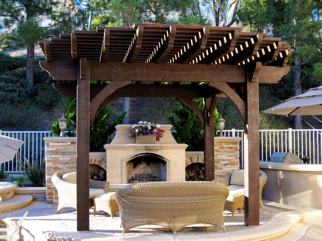Exterior: Beautiful Garden Design Ideas With Small Wooden Gazebo And Fish  Pond Decorations From Gazebo