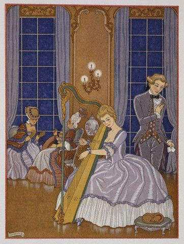 A Woman Playing Harp. George Barbier.