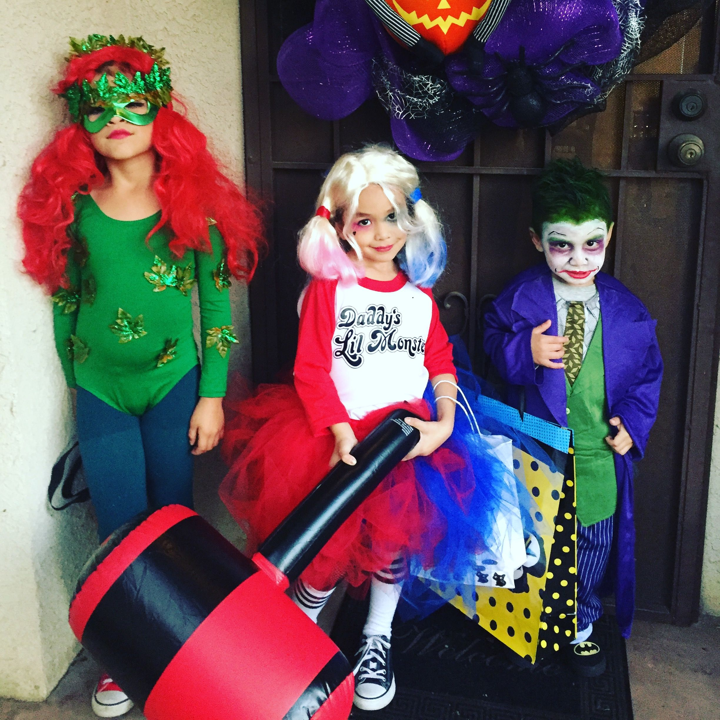 poison ivy harley quinn and joker batman villians kids homemade halloween diycostume - Joker Halloween Costume Kids
