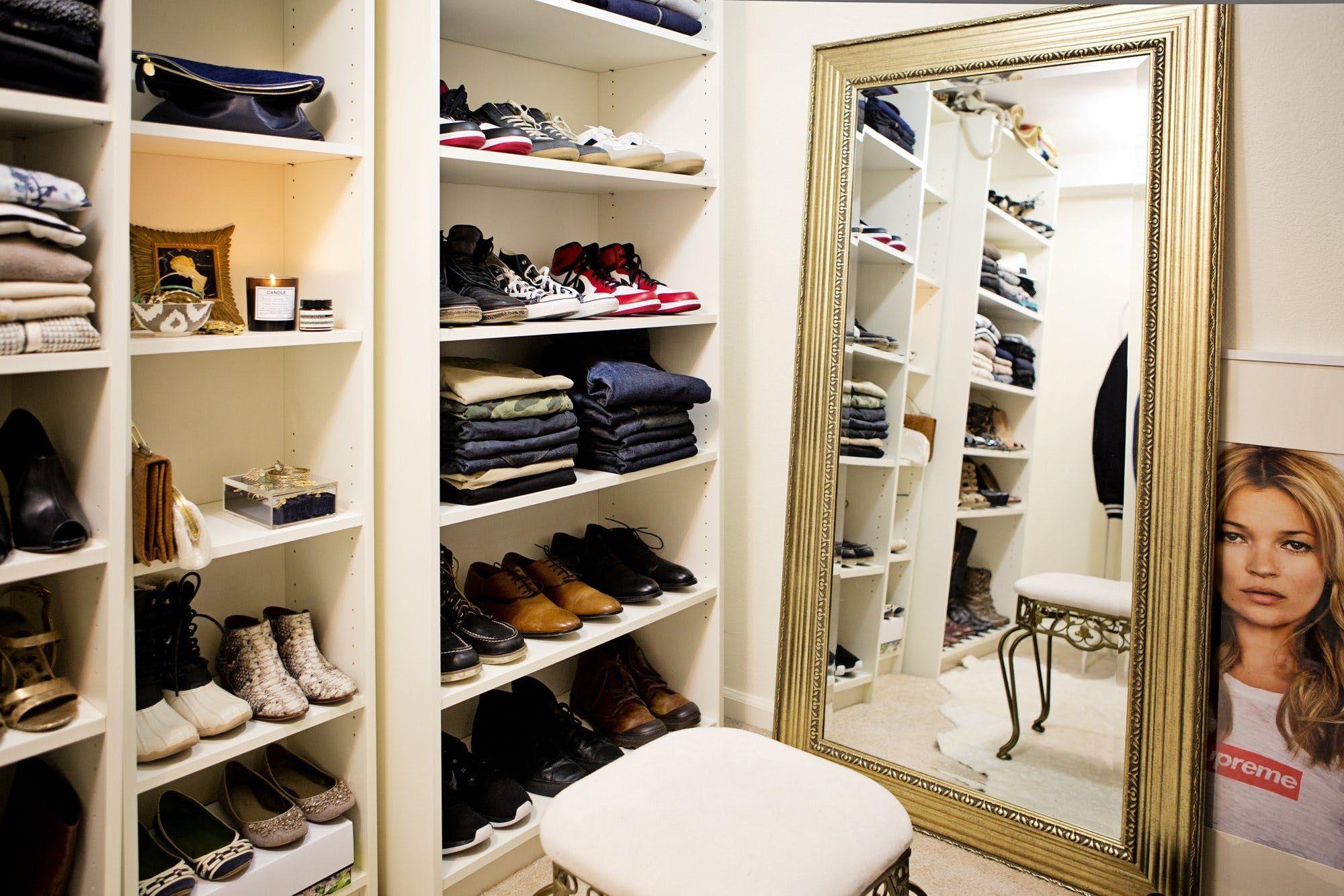 organized clothing closet shoes storage mirror Closet