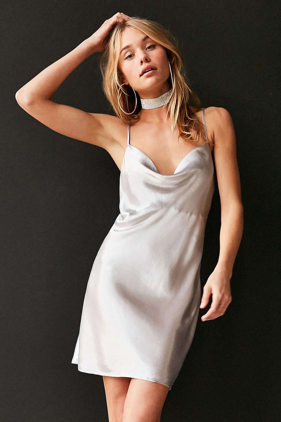 5f78f2f05c98 Bardot Mercury Satin Cowl-Neck Mini Slip Dress - Urban Outfitters ...