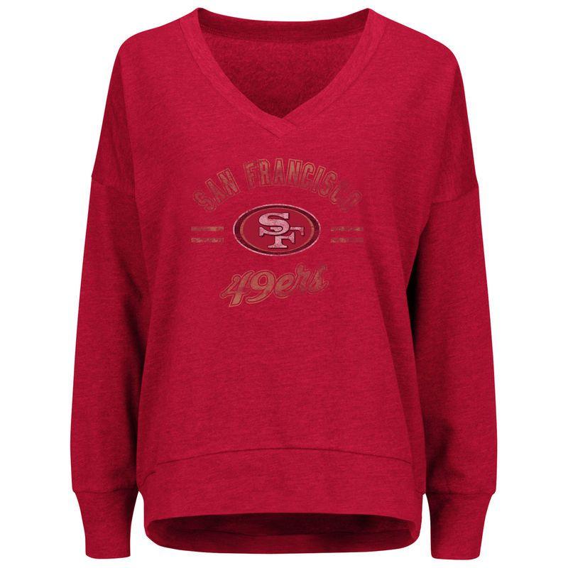 c998331a15064 San Francisco 49ers Majestic Women's Great Play V-Neck Sweatshirt - Scarlet