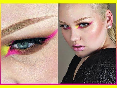 neon make up eye liner pink and yellow