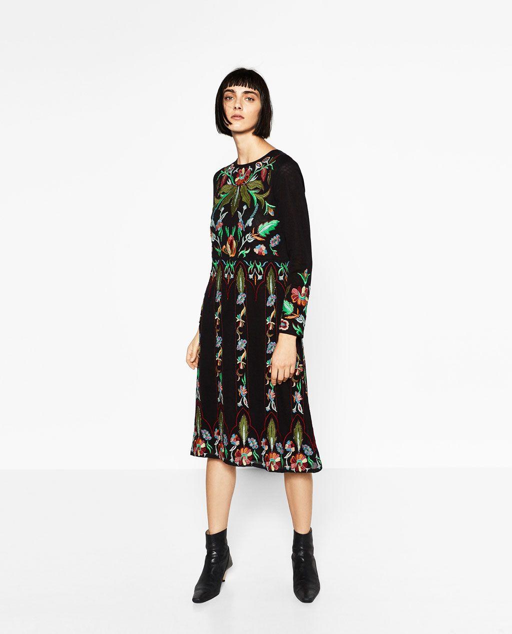 Long embroidered dress zara