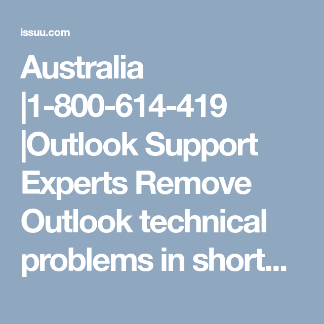 Australia 1800614419 Outlook Support Experts Remove