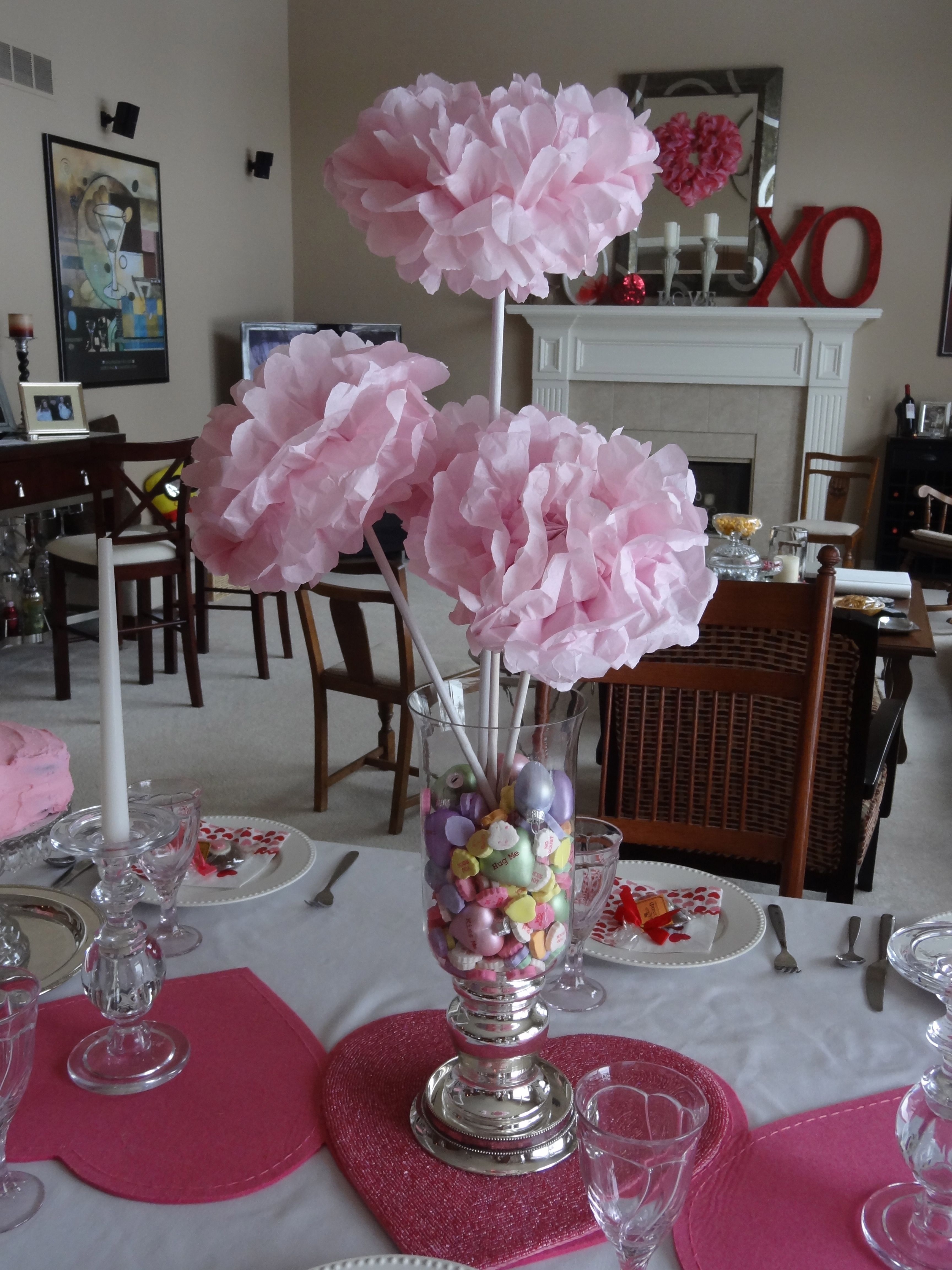 Sweetheart Tissue Paper Flower Centerpiece But With Mexican Candies For The Candy Tab Valentine Centerpieces Girls Party Decorations Paper Flower Centerpieces