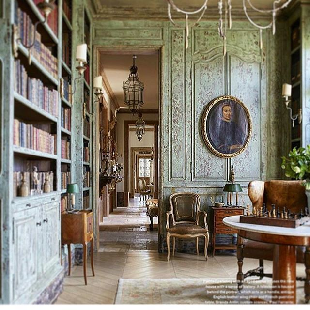 Patina Perfection Old World Scandinavian Sensibilities Featured In Verandamag Home Library Design French Country Decorating French Country Living Room