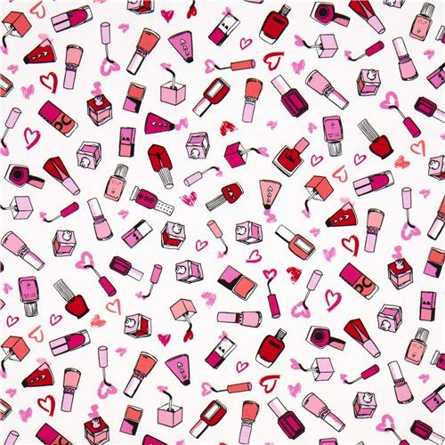 White Nail Polish Designer Fabric With Hearts From The USA