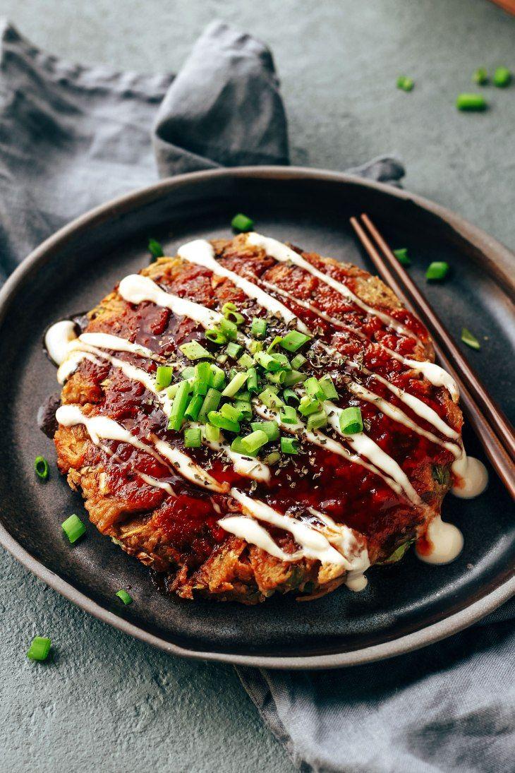 The Best Vegan Okonomiyaki Vegan Japanese Food Vegetarian Recipes Vegan Dishes