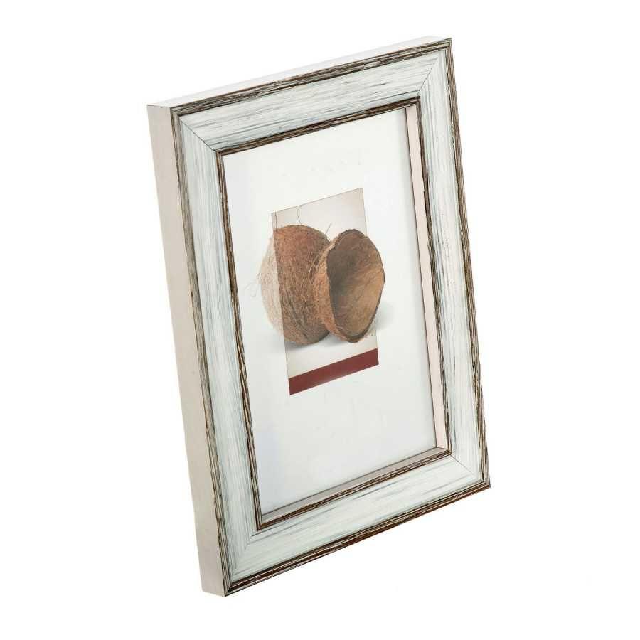 Portafotos aralia madera 15x20 blanco