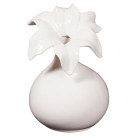 """Ceramic vase with flower petal accents.  Product: VaseConstruction Material: CeramicColor: Glossy whiteFeatures: Flower petal accentsDimensions: 10"""" H x 7"""" Diameter"""