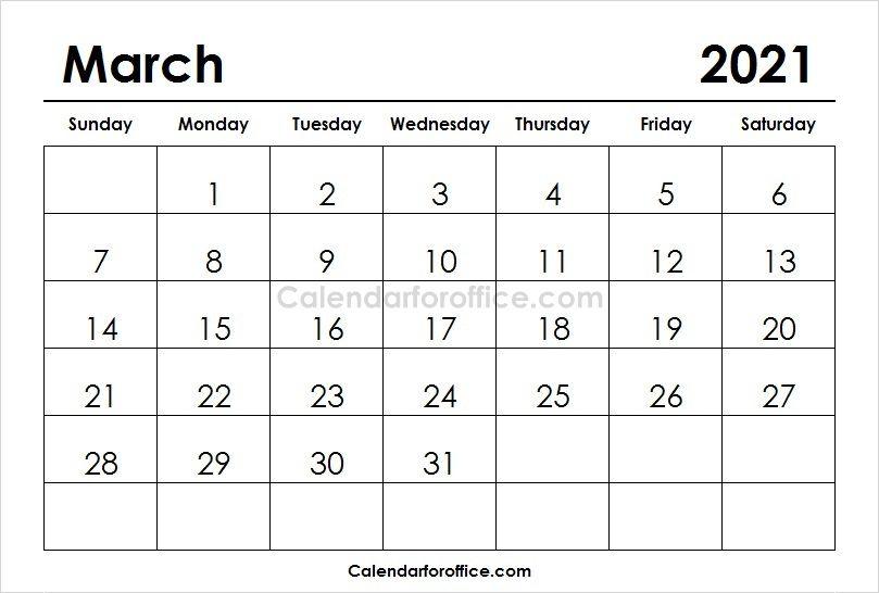 Download Free March 2021 Calendar Calendar Template Printable Calendar Design August Calendar