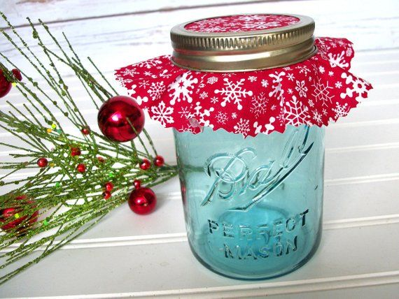12 Red Snowflake Christmas Jam Jar Covers Fabric Cloth Toppers For Mason Jars Food Preservation H Mason Jar Christmas Gifts Mason Jar Gifts Christmas Jam