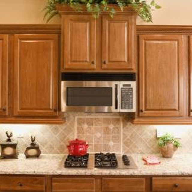 Light Oak Kitchen Cabinets: What Is The Proper Distance To Separate A Microwave & A