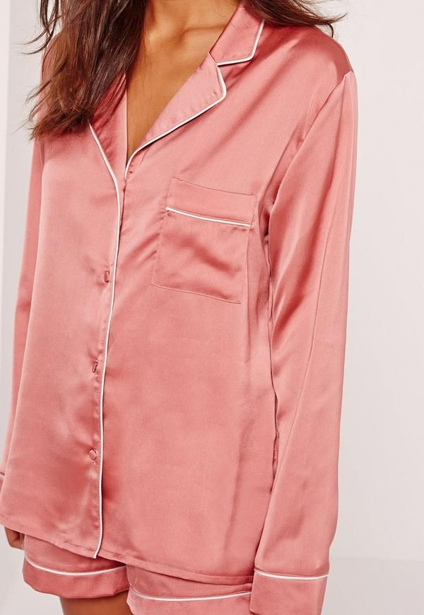 2489ffc04d98 Missguided Pink Piping Detail Short Pajama Set