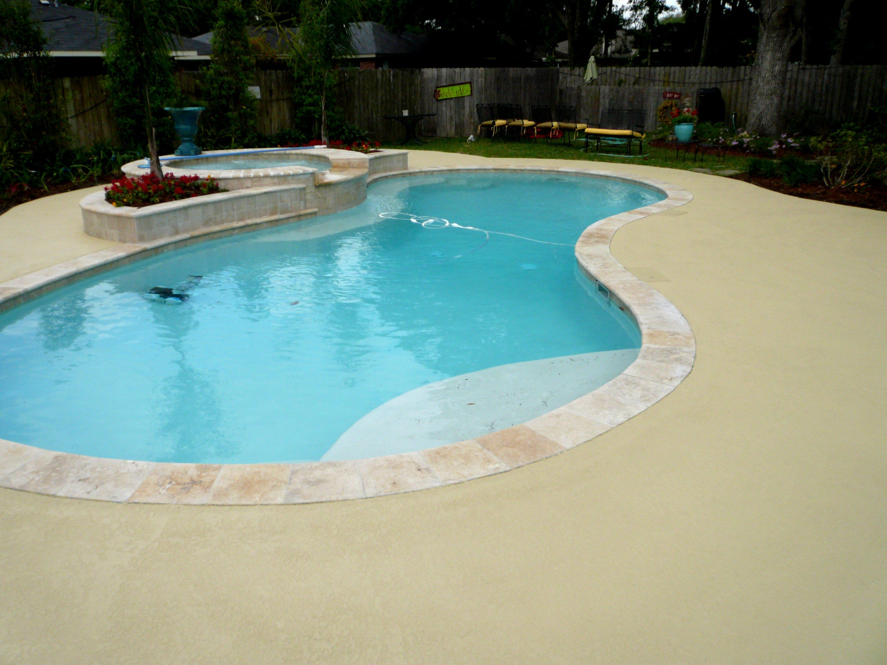 Concrete Miracles; Pool deck with knockdown skid-resistant texture. Many  colors available and