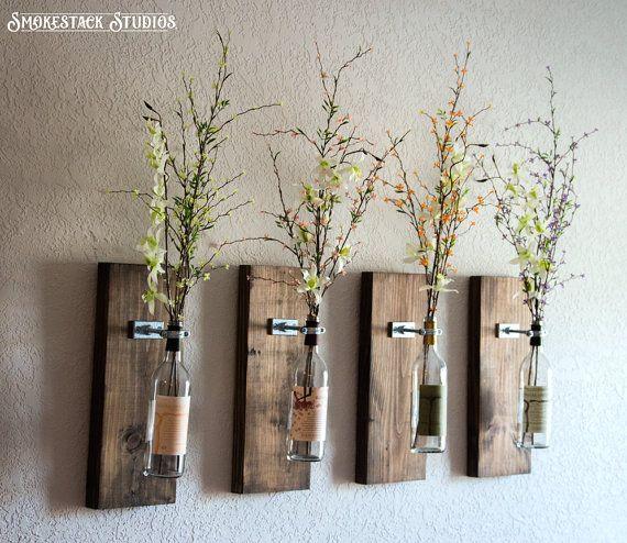 Wine Bottle Wall Vase Set Of Four Rustic Modern Decorations Decor