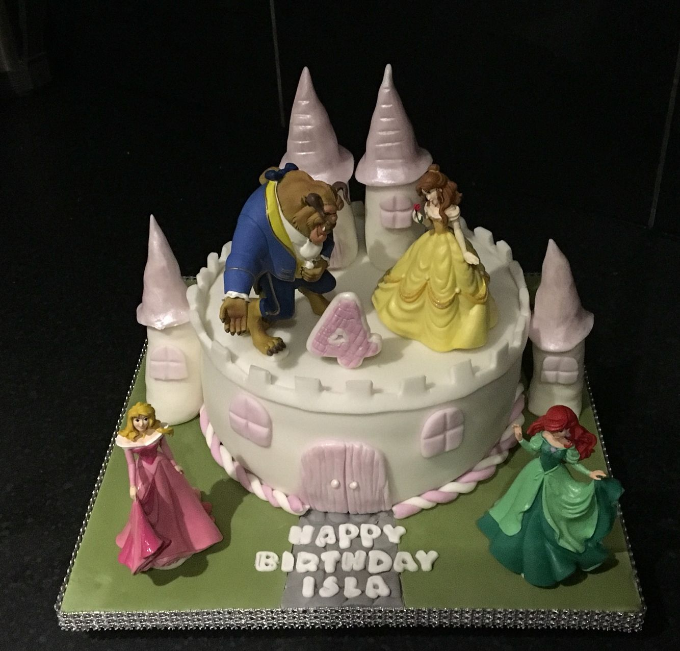 A Princess Castle Cake With Customers Own Models Disney Princess