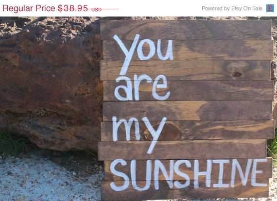 ON SALE You Are My Sunshine Wood Sign Pallet by BlueBonnetRustics, $35.06