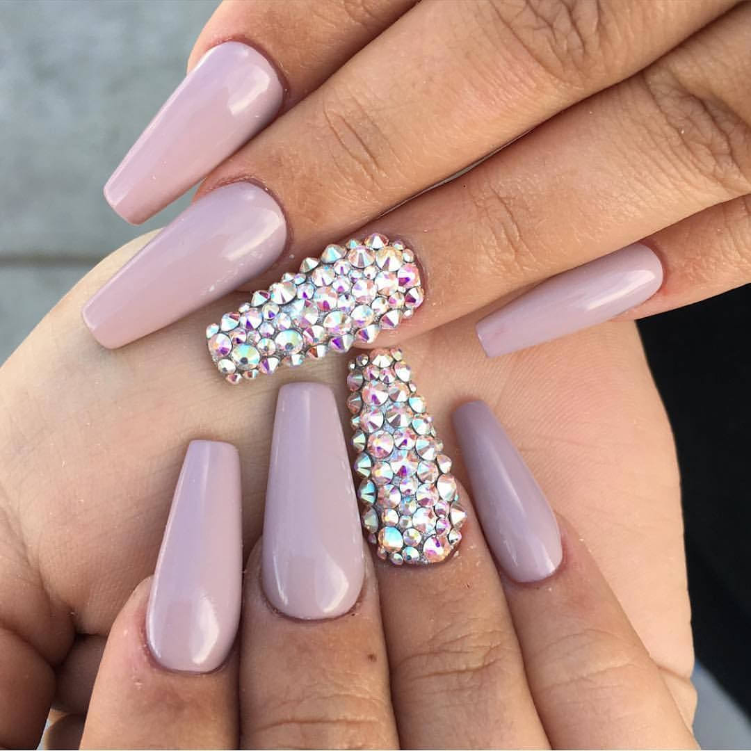 Dusty pink nude gloss with Swarovski crystal feature nails. by ...