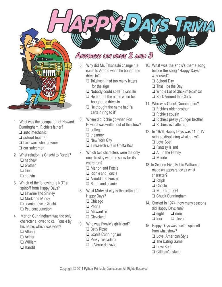 Pop Culture Games Happy Days Trivia, 6.95 40th