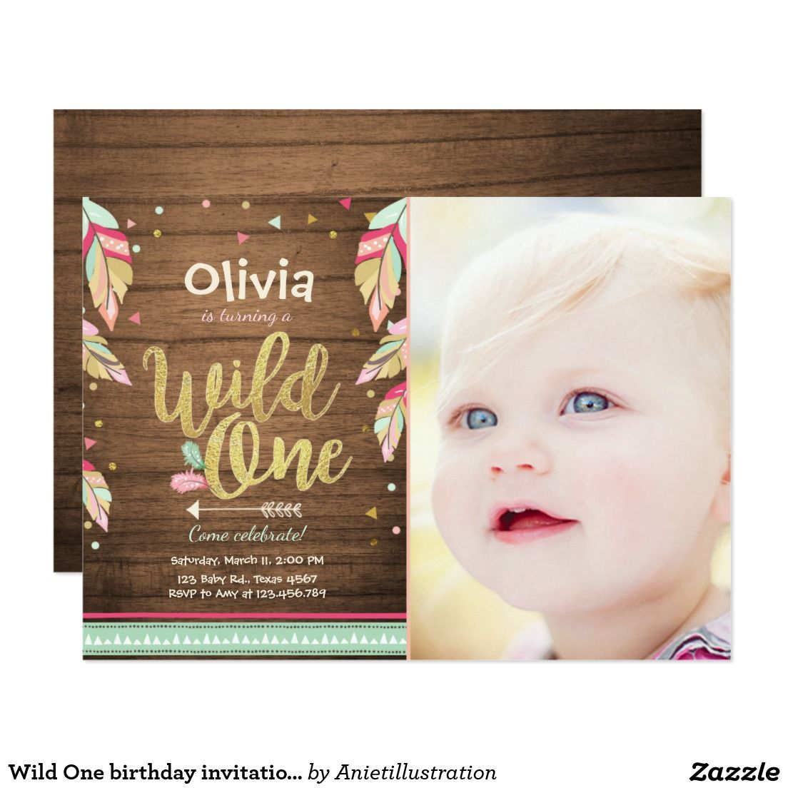 Wild One birthday invitation First birthday Girl | Birthday - Aniet ...