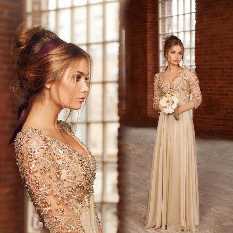 6746164ef Vestido de boda Vintage Manga Larga madre de novia vestido nuevo noche  formal Imperio