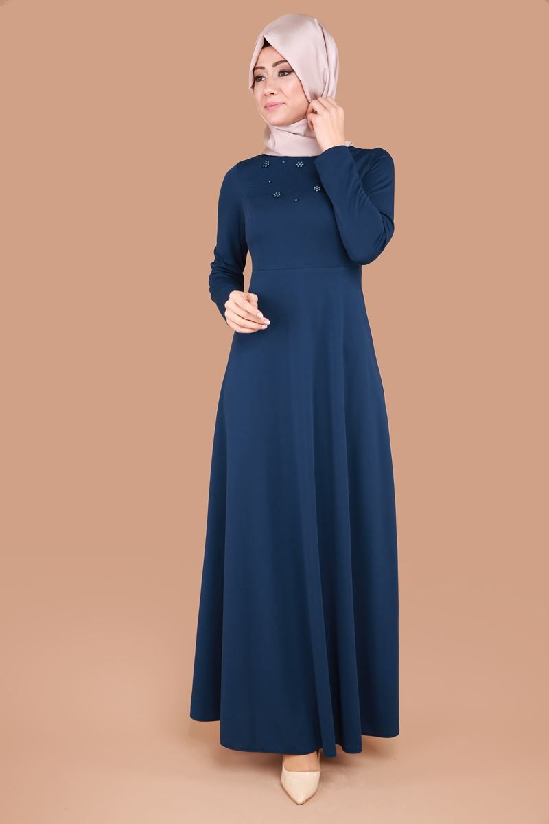 Incili Tesettur Elbise Pua6137 S Indigo Moda Selvim Elbise Basortusu Modasi The Dress