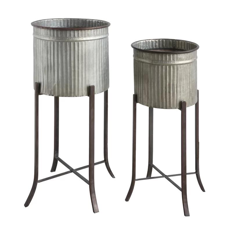 Brunelle 2 Piece Metal Pot Planter Set Reviews Allmodern Iron Planters Metal Planters Galvanized Decor
