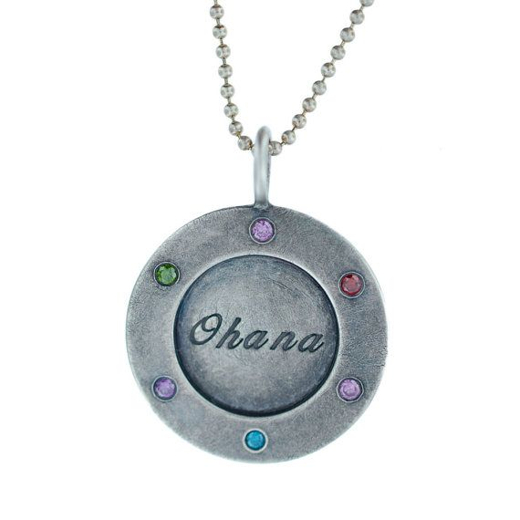 Family Tree Birthstone Necklace - Personalized Silver Wide Rimmed Pendant with Colored Diamonds