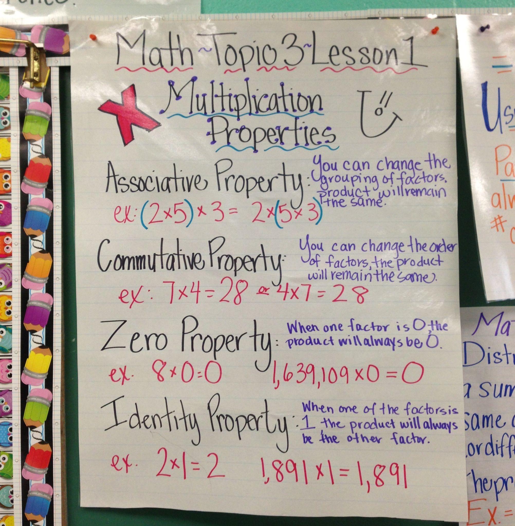 Multiplication Properties 5th Grade