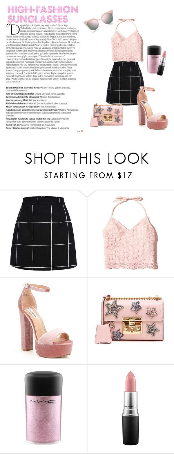 """Sunglasses"" by daughteroftheharpy ❤ liked on Polyvore featuring Hollister Co., Steve Madden, Gucci, MAC Cosmetics, Balmain and Fendi"